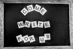 """A chalkboard with """"Come Write For Us"""" in scrabble letters."""