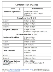 """Conference at a Glance"" snapshot that can be found in the program."