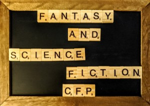 "A chalk board with Scrabble tiles that spell out ""Fantasy and Science Fiction CFP"""